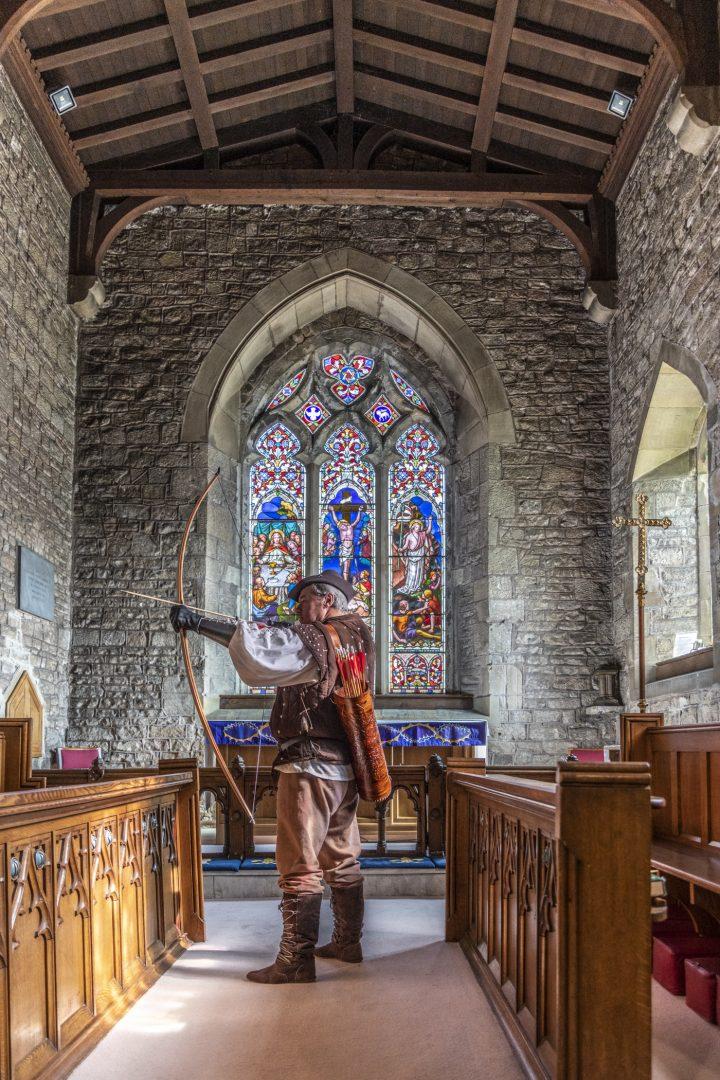 Robin Hood in St Mary's Church in Edwinstowe
